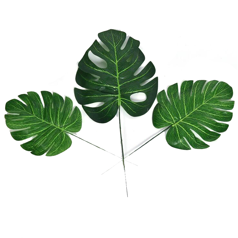 Buy 10pcs artificial monstera palm leaves for Artificial leaves for decoration