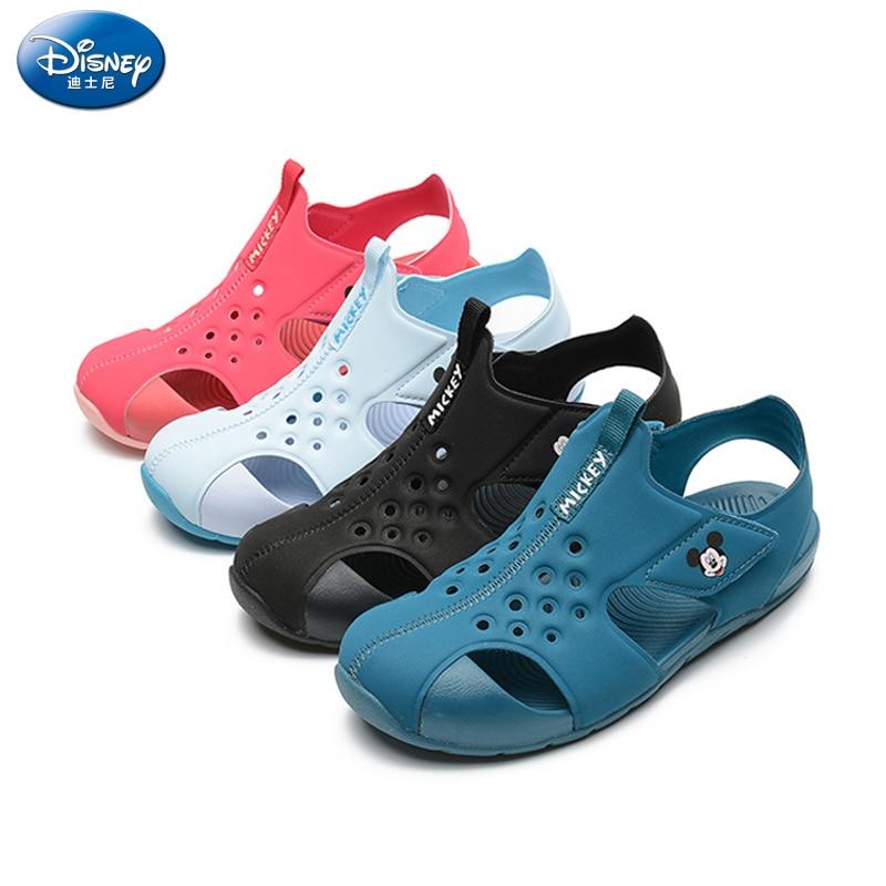 Disney Children's Sandals 2019 Summer New Boys Baotou Slippers Solid Color Girls Soft Bottom Non-slip  Eu Size 24-35