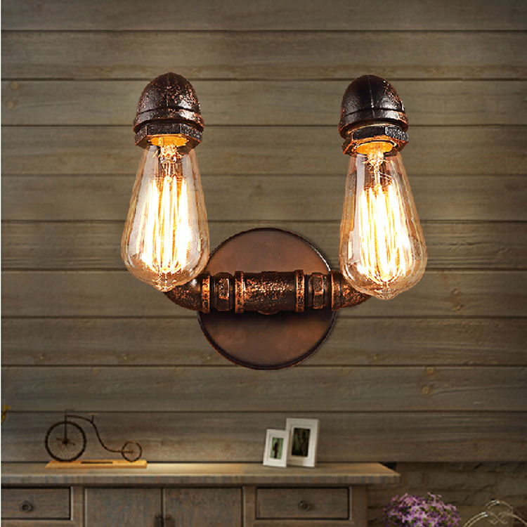 Retro Industrial Loft Edison Water Pipe Wall Light 90-260V E27 Personalized Bar Lighting Hanging Lamp Sconce Lamparas De Pared loft industrial rust ceramics hanging lamp vintage pendant lamp cafe bar edison retro iron lighting