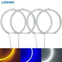 LEEWA 4X127.5mm 4 pcs/ensemble De Voiture LED Halo Anneaux Ange Yeux DRL Tête Lampe Pour BMW E39 OEM (01-03) Blanc/Bleu/Jaune # CA4747