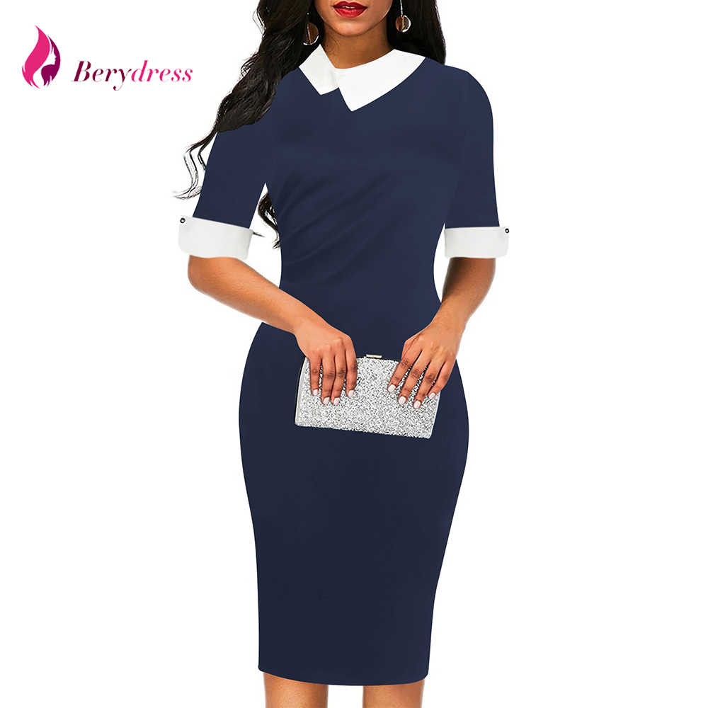 8d01b73f66d8d56 Berydress элегантное скромное офисное женское платье с отложным воротником  темно-синее облегающее платье-футляр