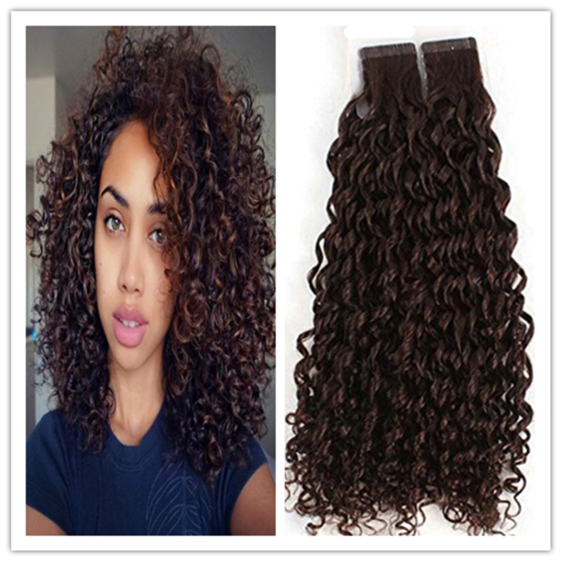 Full shine 7a tape in human hair extensions for african hair color full shine 7a tape in human hair extensions for african hair color 4 middle brown curly brazilian adhesive tape hair extensions in skin weft hair pmusecretfo Image collections