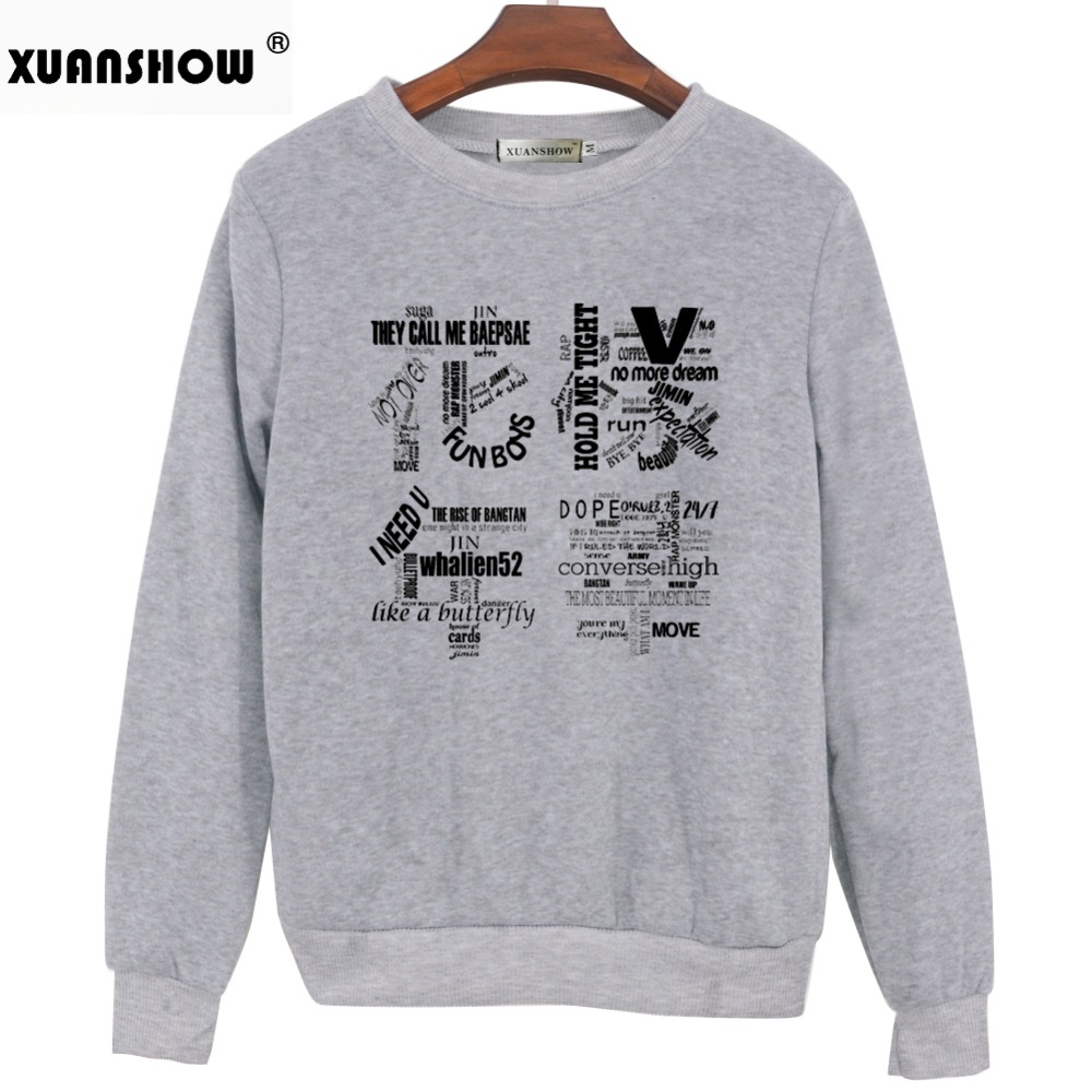 XUANSHOW 2018 Women Bangtan Boys Album Fans Clothing Gray White Black Color Casual Letters Printed Tops bts Hoodie Clothes Bluzy 3