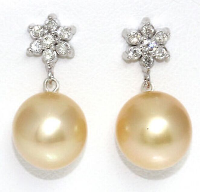 13 14mm natural south seas gold pearl earrings 925 silver flower