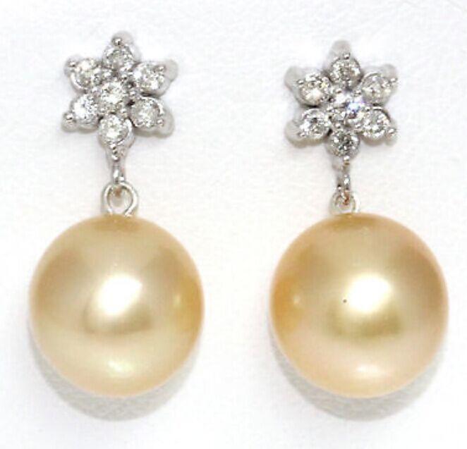 13-14mm naturel mers du sud or perle boucles d'oreilles 925 argent fleur