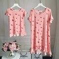Семья пижамы мать дочь платье девушки женщин кружева пижамы хлопок ночная рубашка семья набор девочек одежда мама и я одежда