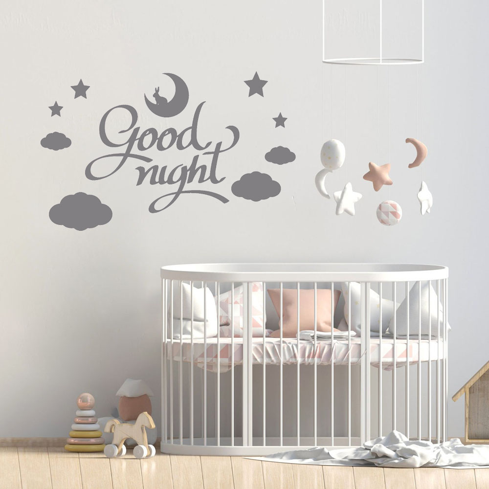 Nursery Wall Stickers Home Decor Bedroom Quotes Art Wall Decal Cloud Moon Rabbit Kids Room Decoration Good Night Teen B494 Wall Stickers Aliexpress