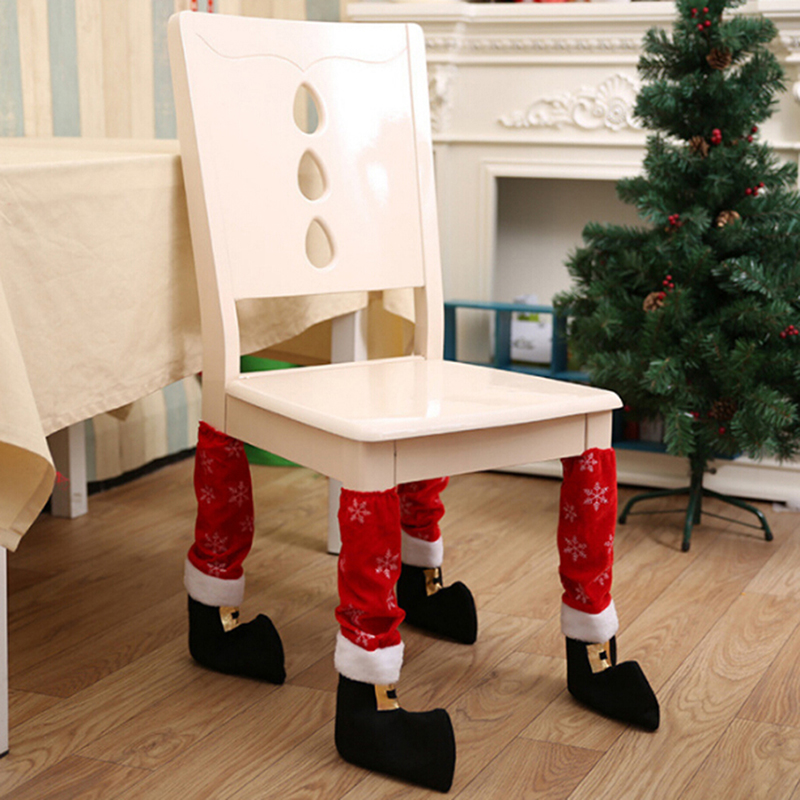 1PCS Christmas Chair Leg Foot Cover Table Decoration for Party Dinner Christmas Decoration Party Dinning chair socks covers santa claus hat chair back cover for christmas dinner decoration cap