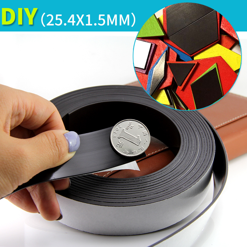 2 Meters Self Adhesive Flexible Magnetic Strip Magnet Tape Width 25.4x1.5mm Ad / Teaching Rubber Magnet free shipping 5 meters flexible magnetic strip 5m rubber magnet tape width 50mm thickness 1 5mm