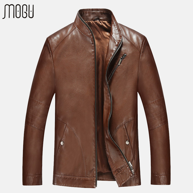 MOGU Quality Leather Jacket PU Leather Jacket Men Leather Coat Leather Fashion Coat