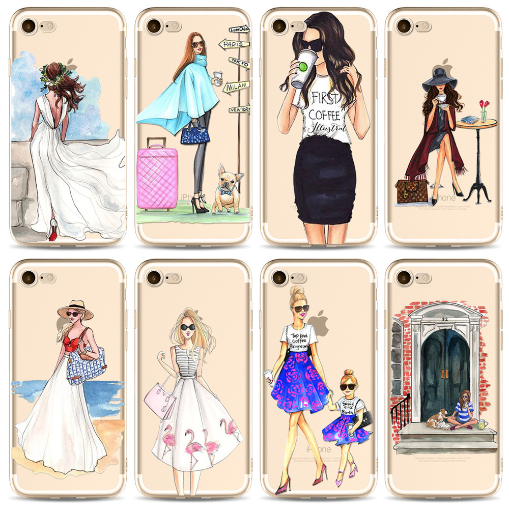 Fashion Dress Girl Phone Case For iPhone X 8 7 6 6S Cover Drink Summer Tavel PatternTransparent Soft Silicon Mobile Phone Bag ...