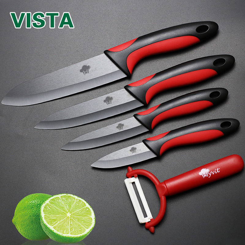 Zirconia de cerámica del Cuchillo de cocina cuchillo de cocina set 3 4 5 6 pulgadas + Peeler + Cubiertas de fruta cuchillo de cocina de Belleza Regalos de calidad superior