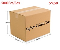 5000pcs/Box 5*650 5x650 width 4.8mm Self Locking White Black Red Blue Yellow Green Nylon Wire Cable Zip Ties.Cable Ties
