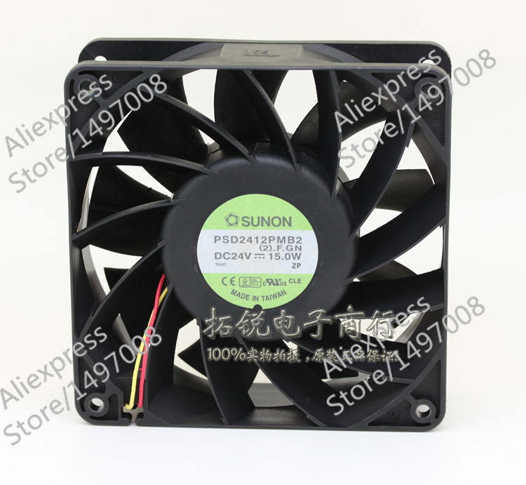 Free Shipping For SUNON PSD2412PMB2, (2).F.GN DC 24V 15.0W 3-wire 80mm 120x120x38mm Server Square fan free shipping 24v dc mig welding wire feeder motor single drive 1pcs