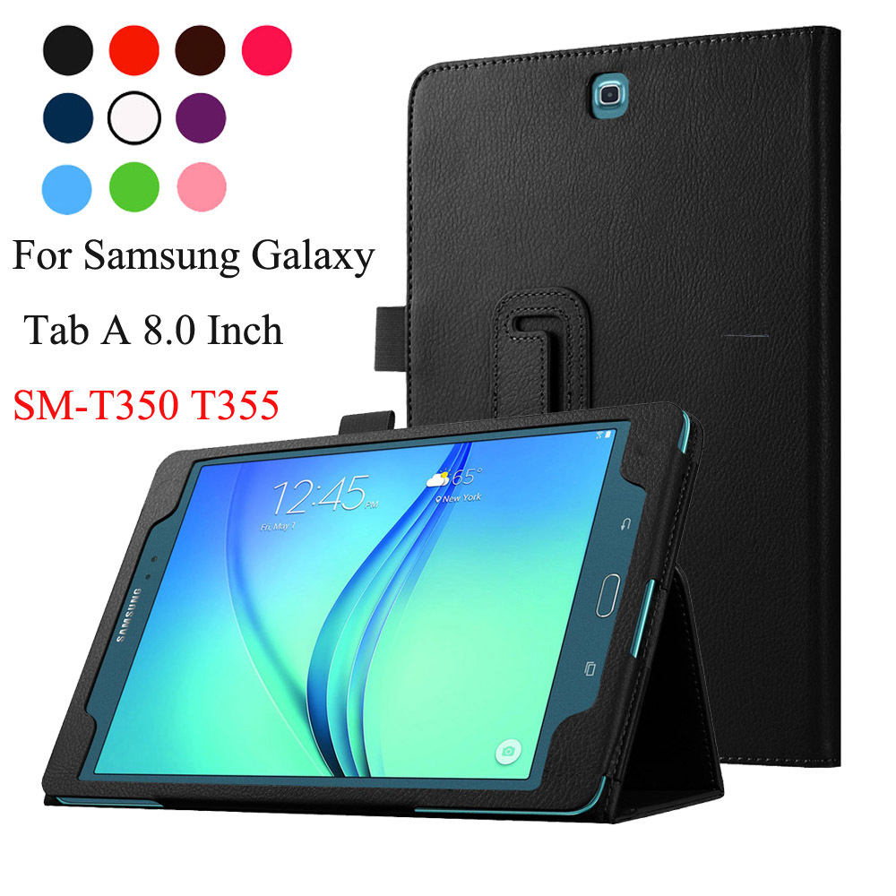 Litchi PU Leather Smart Cover For Samsung Galaxy Tab A 8.0 SM-T350 T351 P350 P355 tablet case Protective shell skin bag