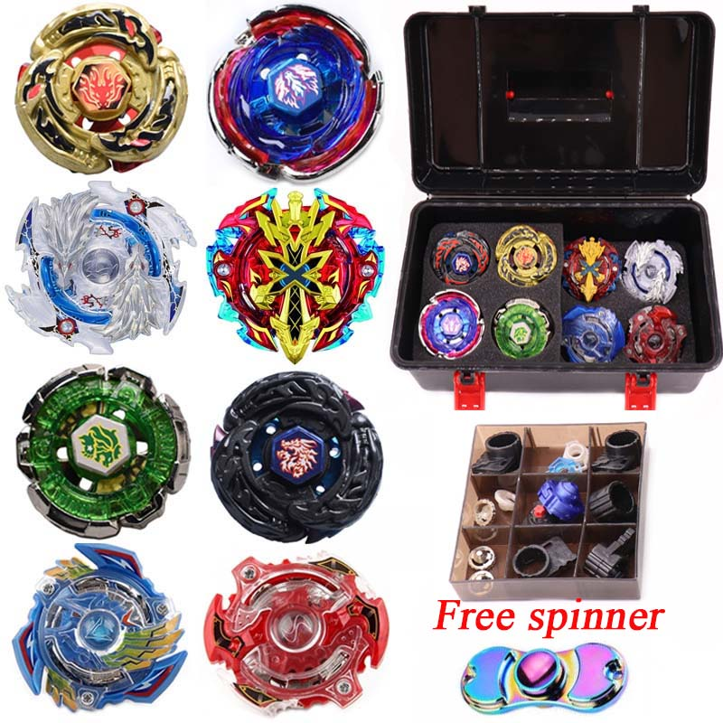 Beyblade Set 8pcs Gyro+3pcs Launcher+1pc Handle+1 Plastic Box Spinning Top Metal Funsion 4D BB48 BB66 BB0105 BB106 Gold Gragon