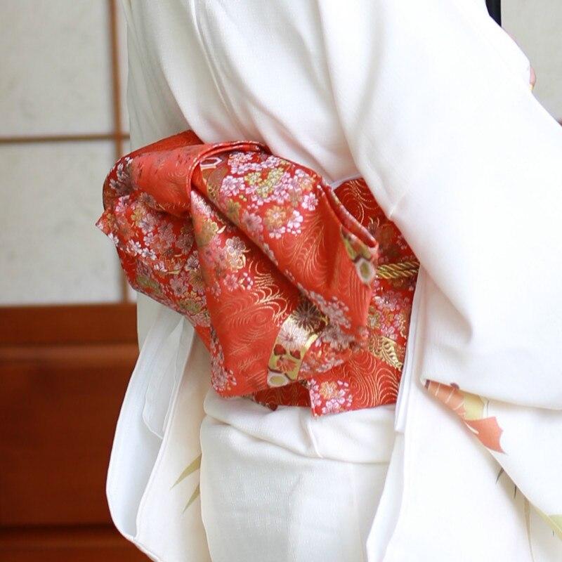 Haute qualité imprimé japonais robe formelle ceinture Kimono Yukata accessoire Obi 5 Styles Floral arc Obis femmes adultes Cosplay accessoires - 2