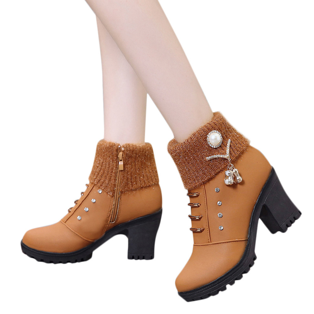 ce5bea329d7e Yellow Women's Martin Boots Fashion Casual Thick High-heeled Winter Ankle  Boots Thick-bottomed Round Square Heel Zip Snow Boots