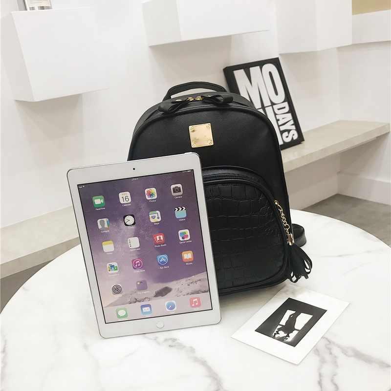 ... 2018 рюкзаки женские мини женская сумка из кожи крокодила рюкзак  женский сплошной цвет Bookbag Mochila подарок ... 70315d7c443