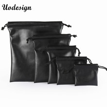10PCS 4 size Small Earring Ring Packaging Bag Black PU Leather Bag For Jewelry Drawstring Pouches Drawstring Bag for Travel