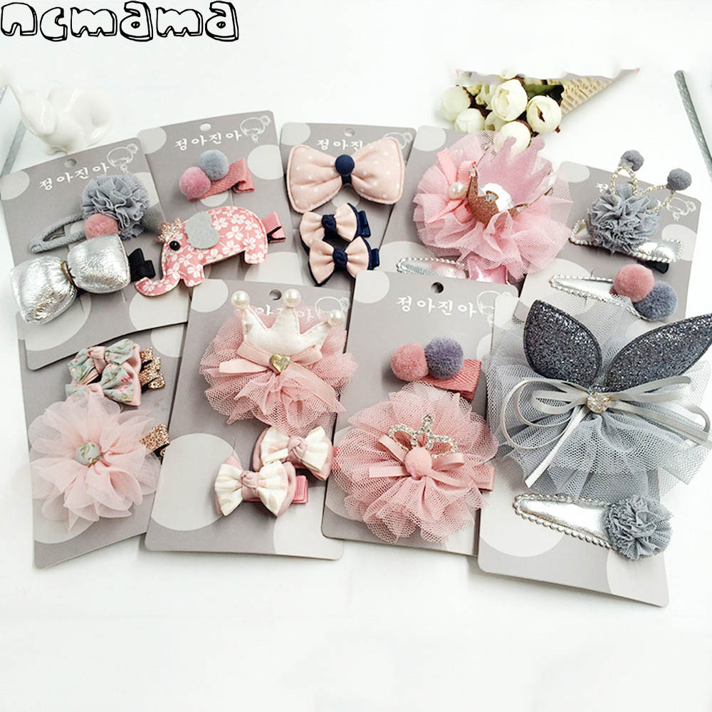 2-3pcs/set Girls' Hairclips Set Mix Style Lace Crown Cotton Floral Hairbow with Clips Handmade Children's Boutique Headdress akg wms40 mini2 mix set bd ism2 3