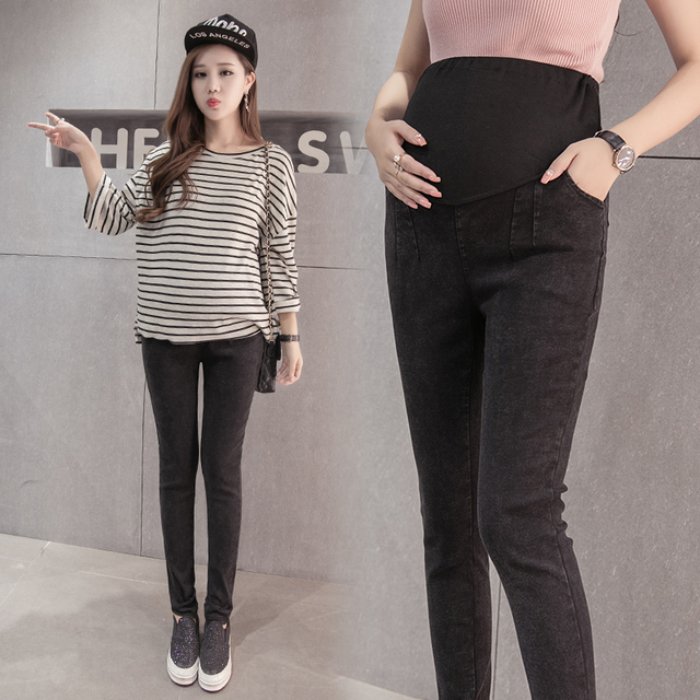 Pants for pregnant women new fall 2016 Korean version of maternity fashion casual loose waist washed jeans