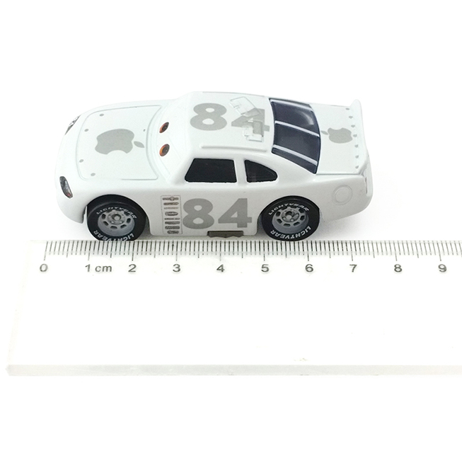 Disney about 7 Cm White Car No. 84 Racing Cars Alloy Mini Figure Model Toys Cartoon Toy Christmas Gift for Childrens