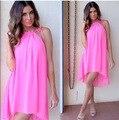 BKLD Весна Лето Сарафан 2017 Женщины Сексуальная Рукавов Beach Party Короткие Платья Случайные Свободные Спагетти Ремень Шифон Pink Dress