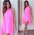 BKLD Spring Summer Sundress 2017 Women Sexy Sleeveless Beach Party Short Dresses Casual Loose Spaghetti Strap Chiffon Pink Dress