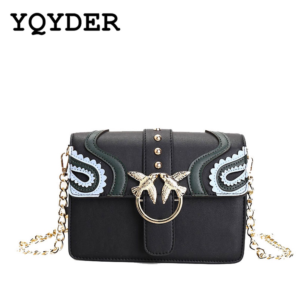 YQYDER Women Metal Double Swallow Flap Bag PU Leather Fashion Rivet Messenger Bags Sac Ladies chain Shoulder bag Bolsa feminina shoulder bag pu leather women messenger bags bolsa feminina sac high quality crossbody bag for ladies female girls double zipper