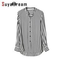 Women Striped Blouse 100 REAL SILK Chiffon Fashion Long Sleeve Blouse Shirt Blusas Femininas 2017 Spring