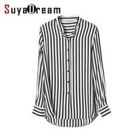 Women Striped Blouse 100 REAL SILK Chiffon Fashion Long Sleeve Blouse Shirt Blusas Femininas 2017 Spring