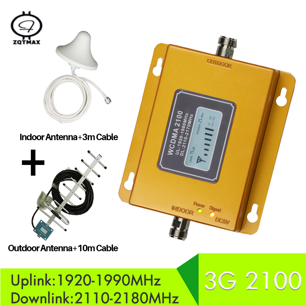 ZQTMAX 3G Cellular Amplifier WCDMA 2100 3G Mobile Signal Booster 3G Signal Repeater For MTS Beeline Vodafone EU Assia Africa RU