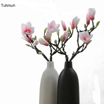Real Touch 38cm Short Artificial Magnolia Flower High Quality Simulation 3D Printing Color Fake Silk Flowers for Home Decoration