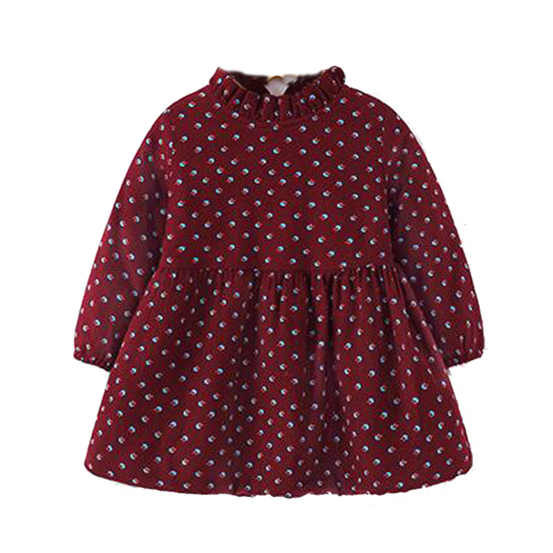 Baby girl dress long sleeve winter 2016 little girl dress warm Plus velvet girls baby dress frock fashion kids baby girl clothes