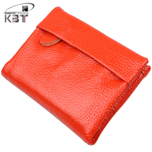 Lovely Candy Color Fashion Genuine Leather Women's Purse Organizer Wallet  Girl's Card Holder Zipper Bag Photo Packs