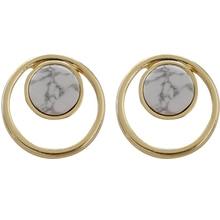 цена на Simple golden geometric earrings with stylish marbled earrings for women