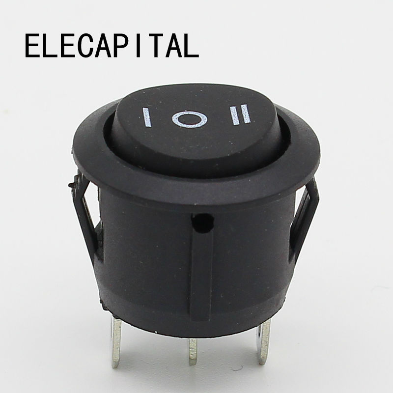 10Pcs 23mm Round Black 3 Pin 10A/125V 6A/250V AC 3 Position SPDT ON-OFF-ON Rocker Switch Snap-in [vk] 1se7 switch snap action spdt 1a 30v switch