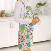 Women Dress Restaurant Home Kitchen Cooking Apron Bib Floral Pattern Precise PVC Waterproof Apron