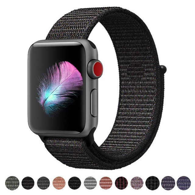 For Apple Watch iWatch Band 42mm 38mm Nylon Soft Breathable Sport Loop Adjustable Closure Wrist Strap for Apple Watch 3 2 1