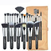 JAF 24 Pcs Set Makeup Brushes High Quality Soft Nylon Wool Contour Powder Face Eyes Lips