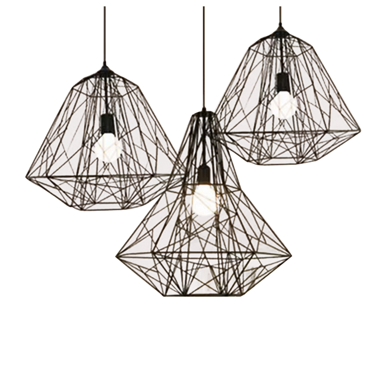 Loft American pendant lamsp retro industrial iron cage pendant light personality cafe bar Nordic creative Diamond Pendant ZH