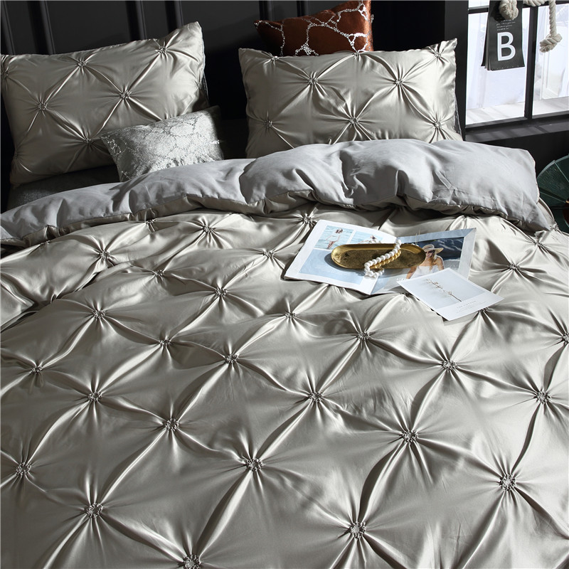 Image 2 - LOVINSUNSHINE Bed Linen Set Duvet Cover King Size Luxury Duvet Cover Bedding Set King Size Silk AC04#-in Bedding Sets from Home & Garden