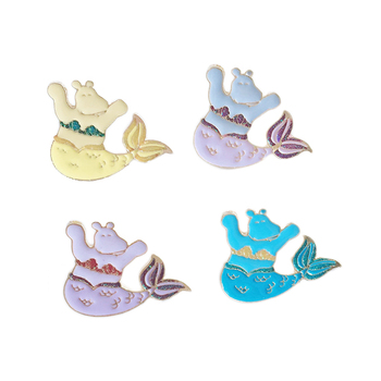 New Fashion Cartoon Brooch Jewelry Sexy Mermaid Tail Cute Honest Hippo Mom Brooches Women Lapel Pins Enamel Badge Gift image