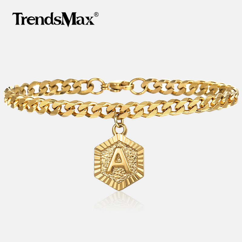 A to Z Initial Letter Charm Bracelets For Women Girls Gold Cuban Link Chain Bracelet Woman Jewelry Wholesale Gifts 5mm DGBM01 Рыбная ловля