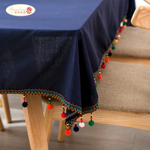 Proud Rose Navy Blue Table Cloth Tafellaken Cotton Linen Tablecloths Creative Tassel Tablecloth Cover Wedding Decoration
