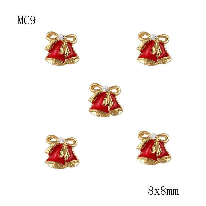 Рождество 20 шт. 3D красный маленький колокольчик сплава со стразами Дизайн ногтей рождественские украшения сотовый телефон камни mc9 Бесплат... ...