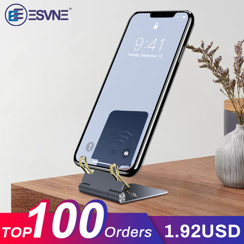 ESVNE Mobile Phone Holder Desk For IPhone Samsung Galaxy S9 S8 Xiaomi Huawei Aluminum Metal Phone Stand Tablet Suporte Celular