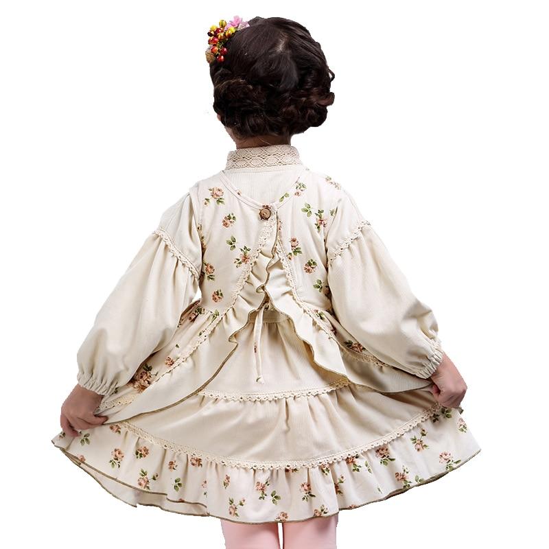 Children`s Clothes Set Autumn Girls Dresses 2pcs Set Floral Baby Cotton Retro Royal Print Dress Long Lantern Sleeve for 3Y-12y