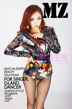 S-XXXL ! 2016 Women's new stage DJ European and American singer nightclub atmosphere colored flowers sequined costumes clothing